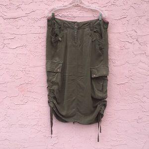 Da-Nang Olive Green Distressed Cargo Skirt